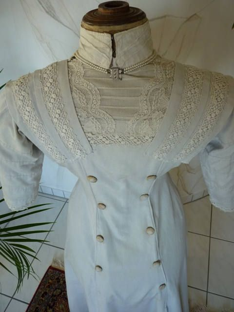 1908 Off-white Day Dress antique Dress antique Gown