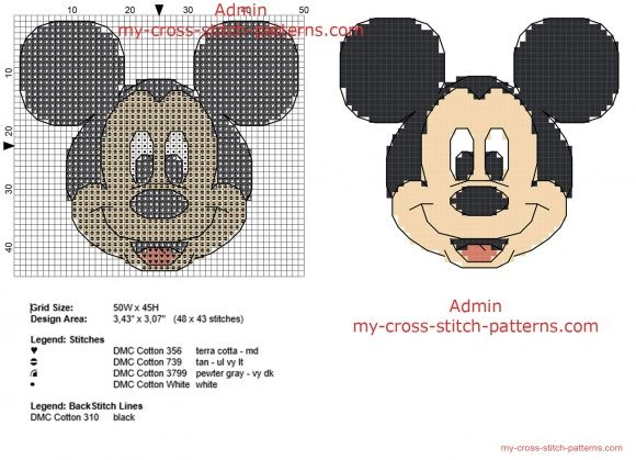 Mickey Mouse with backstitch use small size 48 x 43 only 5 DMC threads free cross stitch pattern
