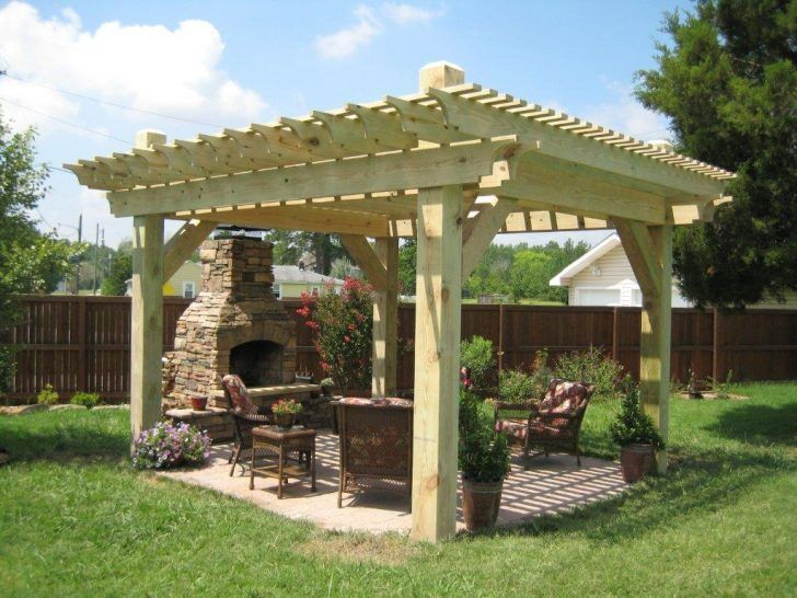 Exterior Gazebo Designs For Large Gardens Made Of Wooden Thick Gazebo Have Furniture Wicker Chairs Set For Seating And F Outdoor Pergola Pergola Patio Pergola