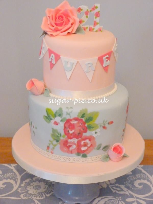Hand painted Cath kidston inspired cake