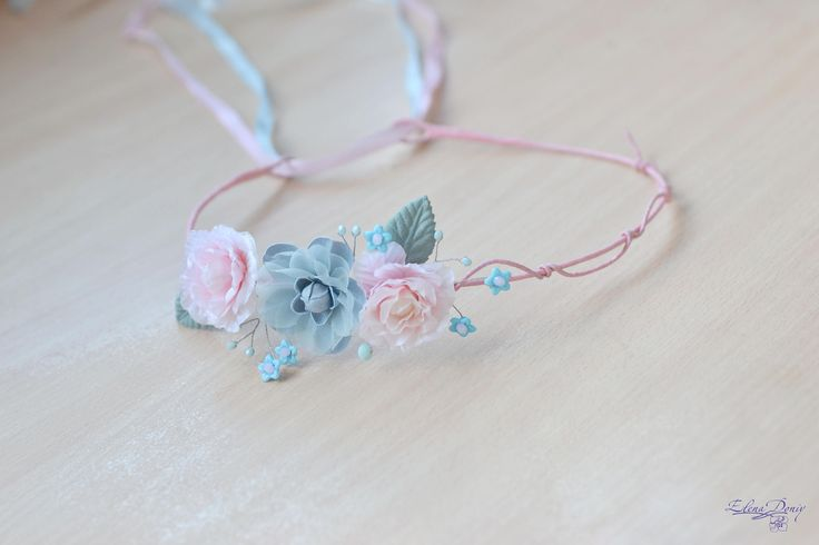 Flower girl crown Blue pink Floral crown Girl headband Flower