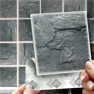 18 stick go slate stick on wall tiles stickers for kitchens or bathrooms - Tijdelijke Backsplash