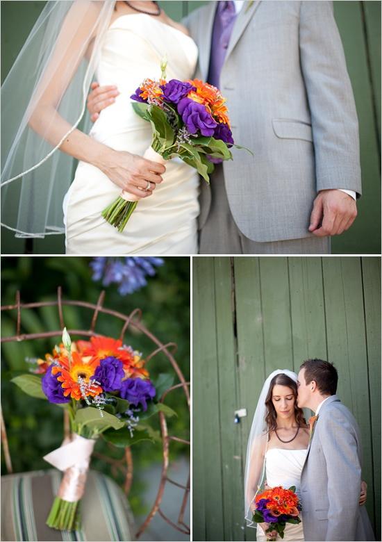 purple orange wedding bouquet: Turquoise Wedding Bouquets, Orange Color, Wedding Ideas, Weddings Orange Peach, Purple Orange Bouquet, Purple Orange Weddings, Purple Bouquets, Orange Wedding Bouquets