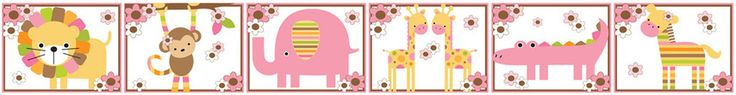 Pink Mod Jungle Wall Border Decals Baby Girl Nursery Kids Room Decor - Lion, Monkey, Elephant, Giraffes, Alligator, and Zebra. #decampstudios www.decampstudios.com