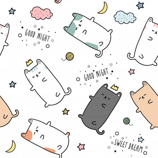 Cute Cat Kitten Sleeping Cartoon Doodle Seamless Pattern In 2020