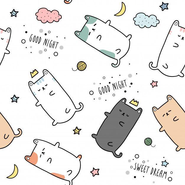Cute Cat Kitten Sleeping Cartoon Doodle Seamless Pattern In 2020