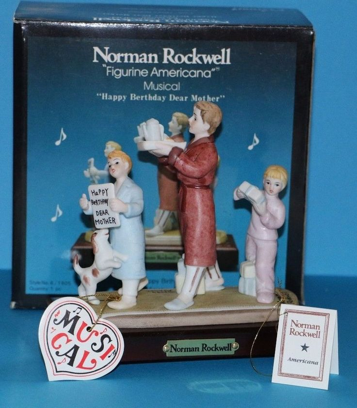 Norman Rockwell Happy Berthday Dear Mother Birthday Song Musical Figurine Gift Idea for Mom Grandma Grandmother