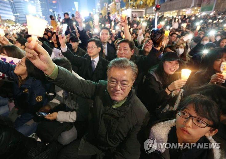 촛불집회 참가한 문재인 전 대표