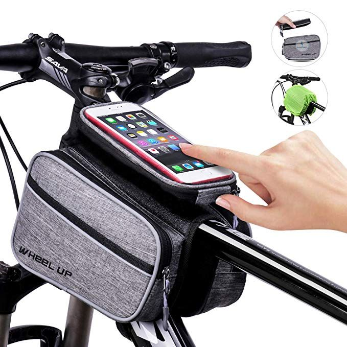 Bike Front Frame Bag Bicycle Top Tube Bag With Velcro Straps Bike
