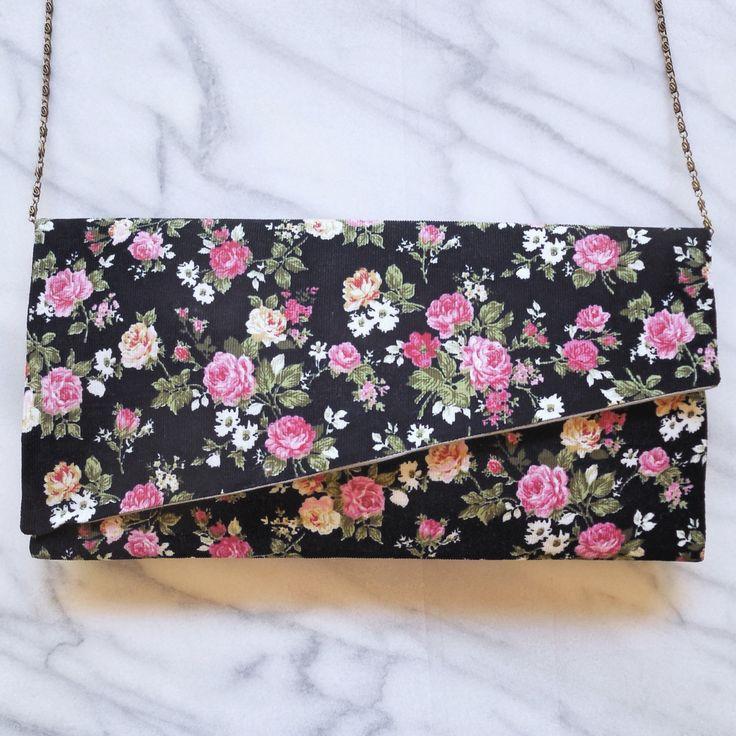 Pochette Handmade made in France Montpellier Liberty velours milleraies velvet clutch bag handbag