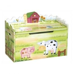 Farmhouse toy box.  Hand-painted and hand-carved!  Guidecraft g83564