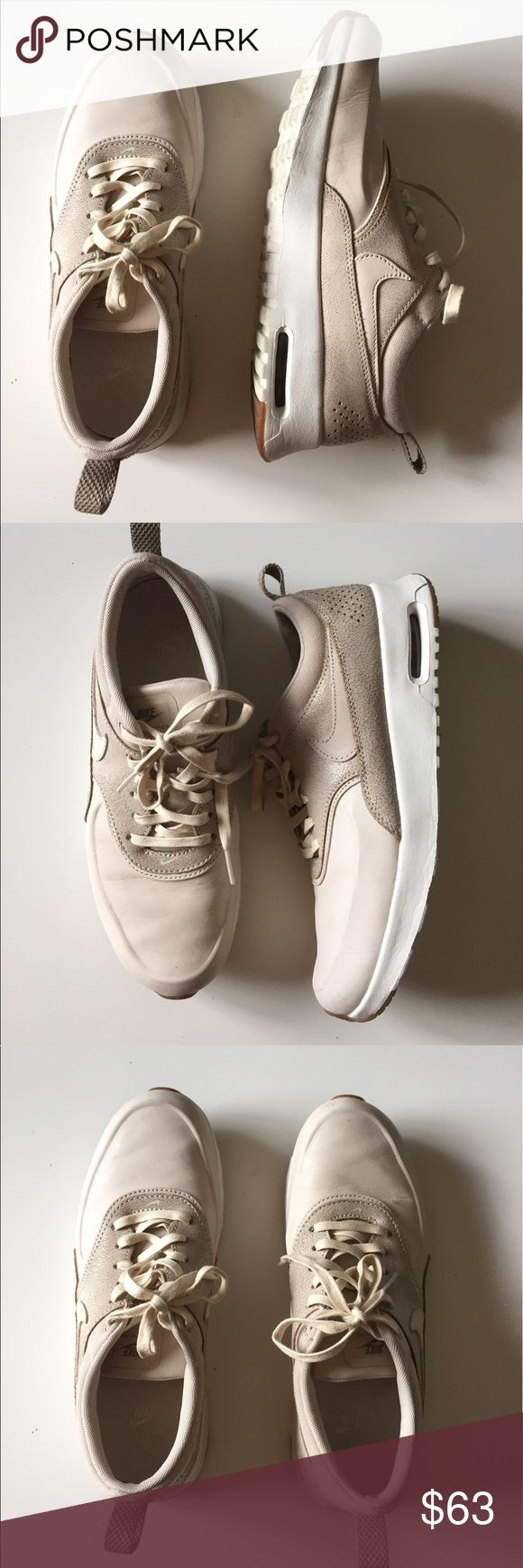 Nike max Thea premium excellent condition. Air max Thea premium sneakers Color oatmeal,sail& khaki excellent condition size 8. Has a very small scratch that no one will notice. Nike Shoes Sneakers