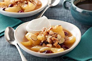 Slow-cooker pear and cranberry crisp.