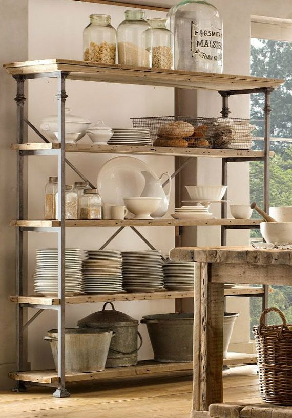 French vintage baker's rack shelving and by AMFKStainlessSteel, $1299.00 -- ITEM IS SOLD BUT I LOOOOVE ITS VERSATILITY WOULD LOOK GREAT IN ANY KITCHEN FROM COUNTRY TO SHABBY CHIC