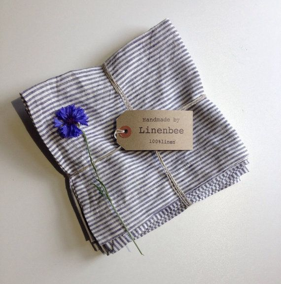 Set of six linen cloth napkins in thin grayish blue stripes. Made from yarn dyed 100% pure European linen. Fine quality, thin linen. These will be a