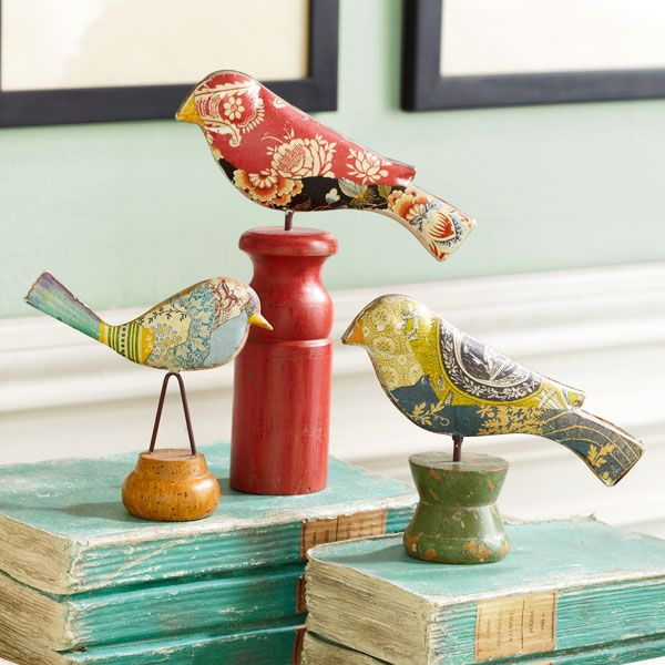 44 best images about bird decor on pinterest fabrics for Fake birds for crafts