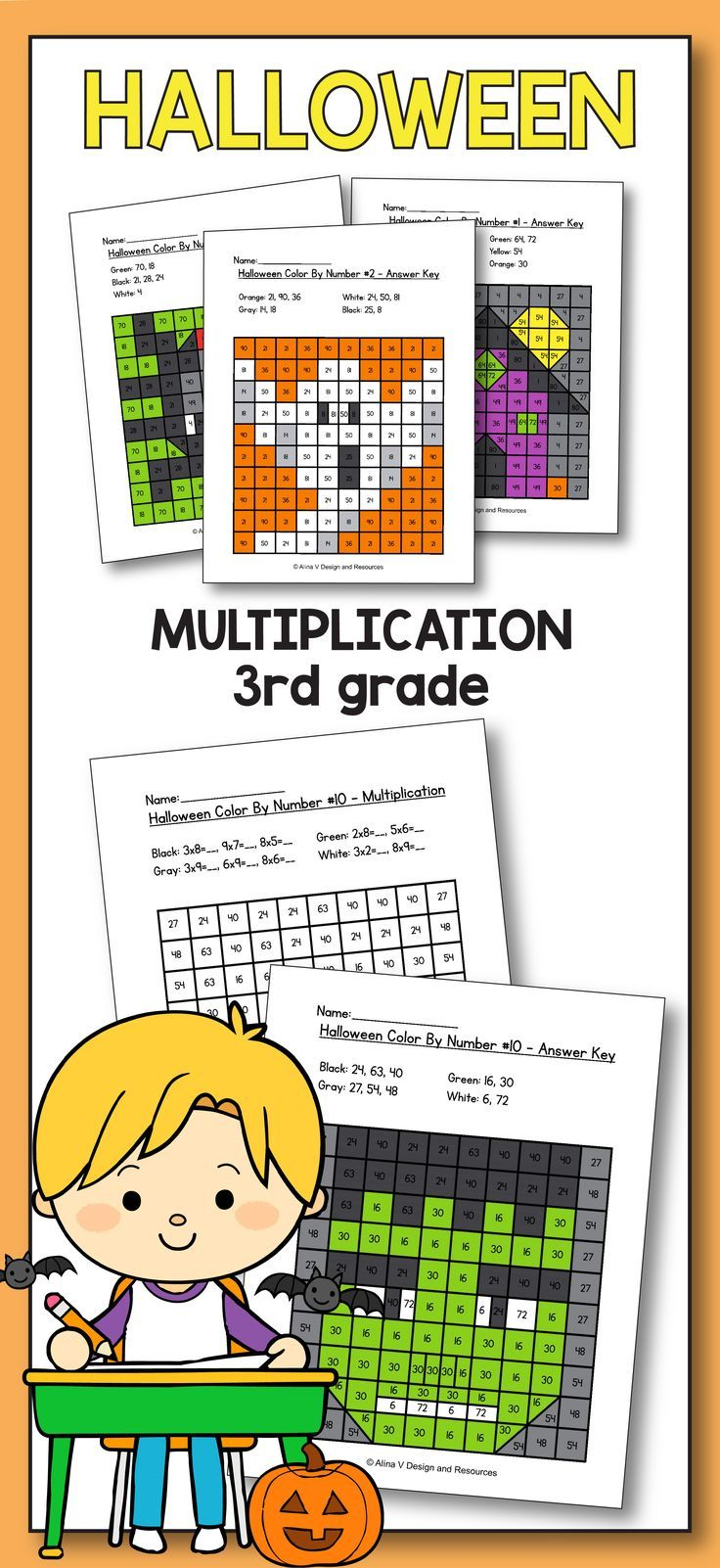 Halloween Multiplication Math Worksheets for 3rd grade kids is fun with  these hundreds c…   Halloween math activities [ 1602 x 736 Pixel ]