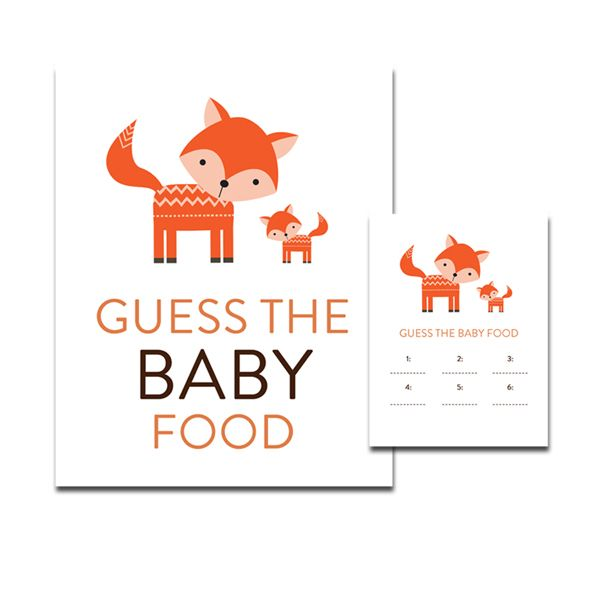 Baby Shower Cute Woodland Fox Forest Baby Animals - Game Guess the Baby Food - Instant Download Printable
