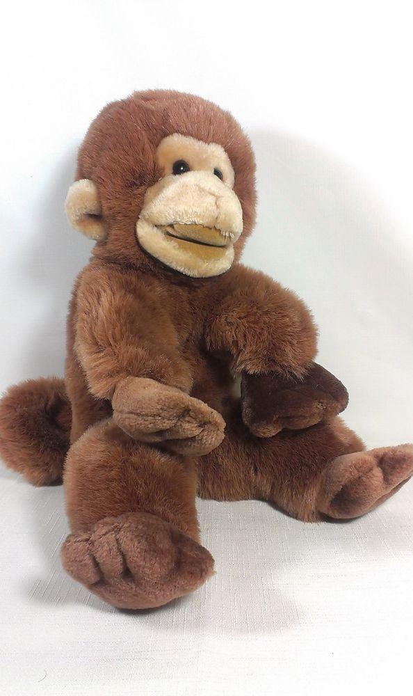 "1985 Vintage Gund 15"" Peanut the Monkey Stuffed Animal Plush Puppet Korea  #GUND"