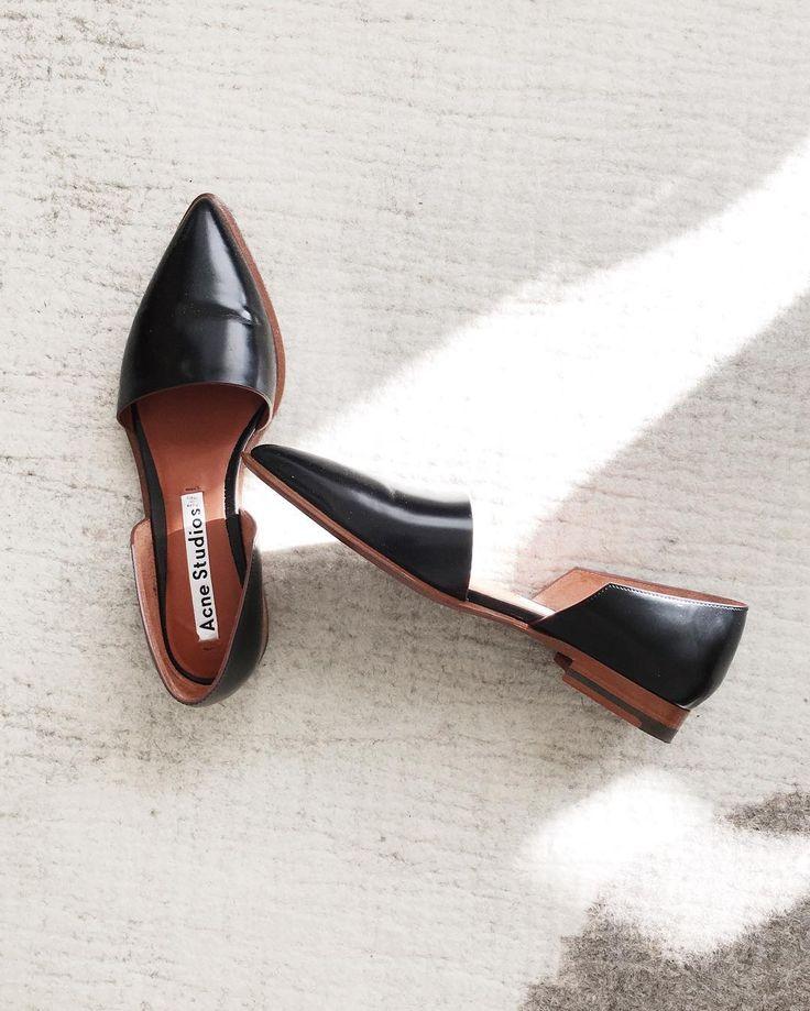 acne studios minimalist black leather flats