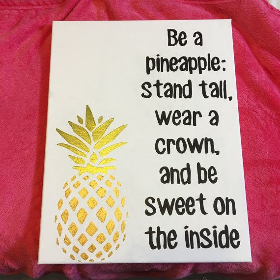 Be A Pineapple Quote Canvas Wall Art by SimpleSwank on Etsy
