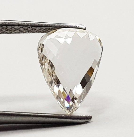 1.00 TCW Natural Diamond Pear Shape Salt and Pepper Black Color Rose Cut Natural Loose Diamond