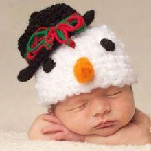Nuevo Llegado Niños Crochet Sombrero de Muñeco de nieve de Navidad Que Hace Punto Suave Tapa Traje Traje Para El Bebé 0-18 Meses