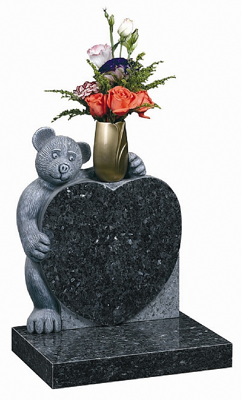 Children's headstones from The Memorial Group. Blue pearl Granite. Teddy bear with vase on heart-shaped headstone.