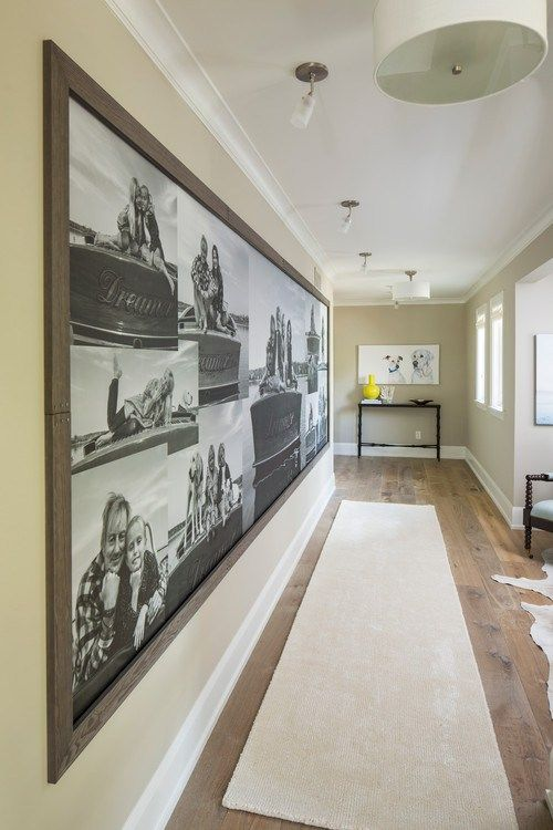 Create your own custom mural of a collage of photos - love this for a long hallway and the wood frame is perfect!