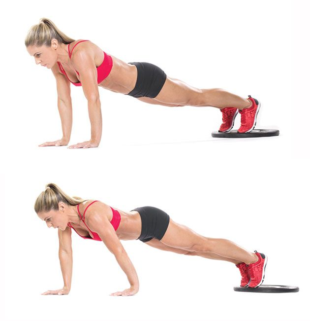 The alligator crawl - hook your feet onto the lip of a weight and walk forward with your hands dragging the plate with you. Major core work, and definitely not your average boring crunch routine!