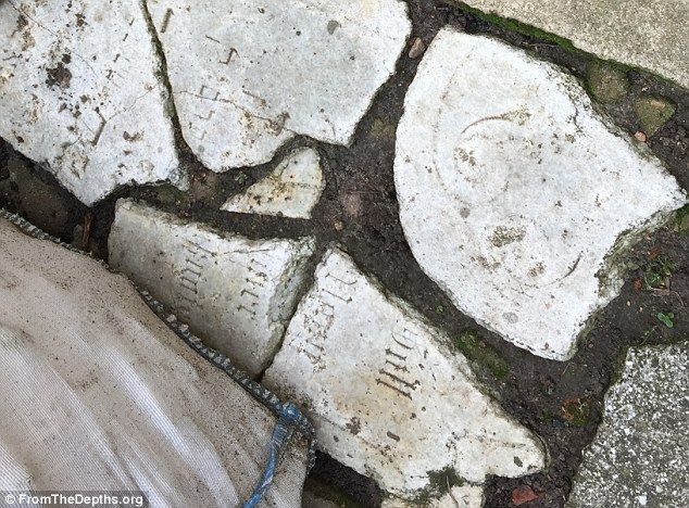 Disrespect: Former owners of a house in Wabrzeznoused over 70 tombstones from Jewish graves to make paving stones. Researchers were alerted by new owner, a fire chief