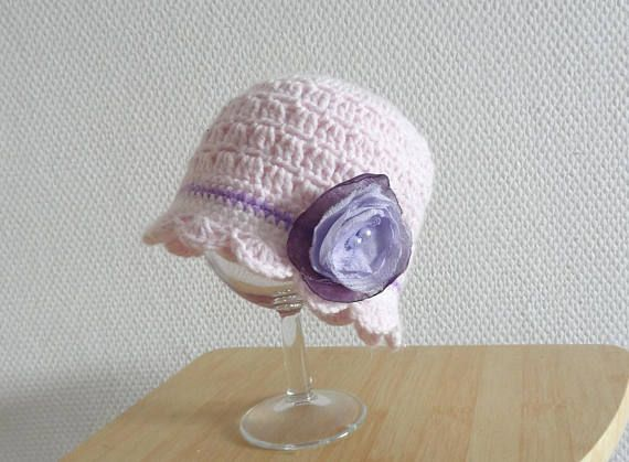 Spring Crochet lace Hat, Baby Shower Gift , Girl hat , Crochet Newborn Hat, Toddler lace Hat, Newborn Prop, crochet Hat with flower pink hat