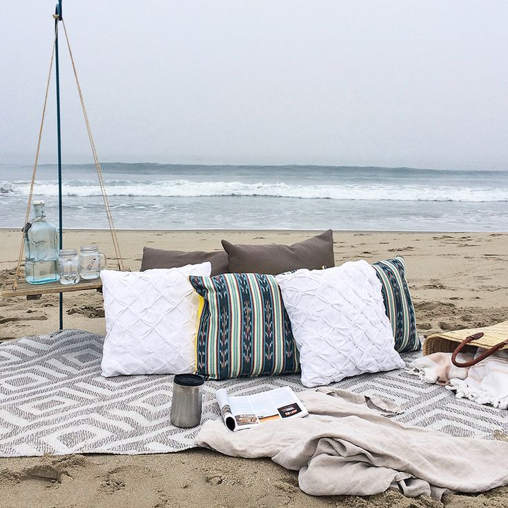 Everyone loves the coziness of fall-- whether enjoyed from within the home or beyond it. Create casual, comfortable spots for relaxing and socializing by bringing throw pillows and blankets to picnics, campfires and beachside gatherings. #mycb2