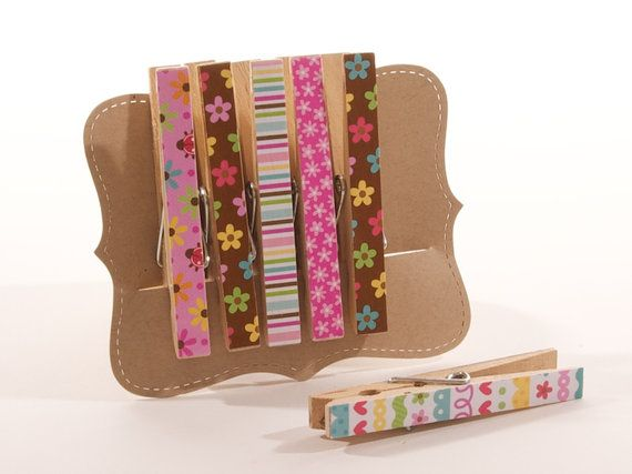 Decorative Clothespin Set by ATouchOfInk on Etsy, $6.00