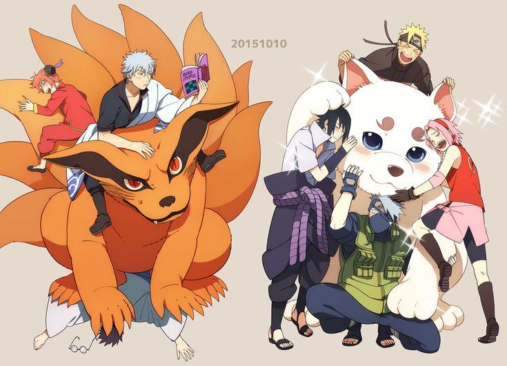 Min Tosu, Gin Tama, NARUTO, Uchiha Sasuke, Uzumaki Naruto, Sadaharu