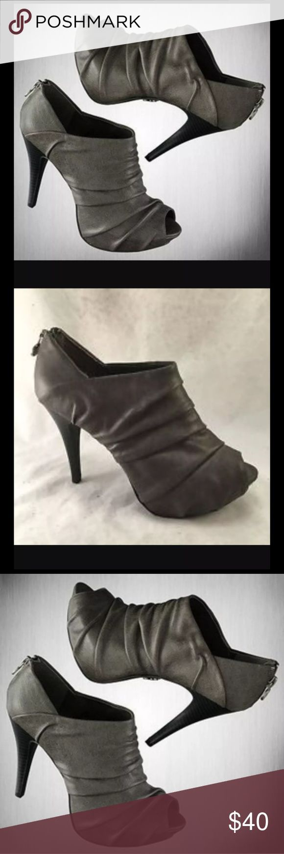 Simply Vera Wang peep Toed booties Stunning Vera Wang Savalle gray peep toe booties zips in back like new no box. Simply Vera Vera Wang Shoes Ankle Boots & Booties