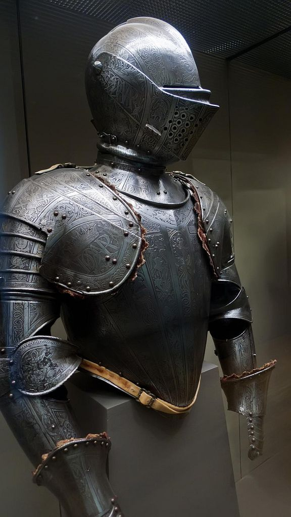 Armor made by Pompeo della Cesa Italian court armorer to Philip II of Spain for use in tournaments fought on foot over a barrier 1590 CE |