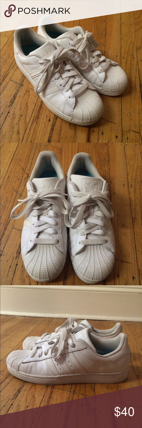 Adidas Stan Smith Superstar shell tops White Stan Smiths with shell top toes and white tonal stripes. Some wear and creasing in the leather but still in good condition. Gel insole included. Adidas Shoes Sneakers