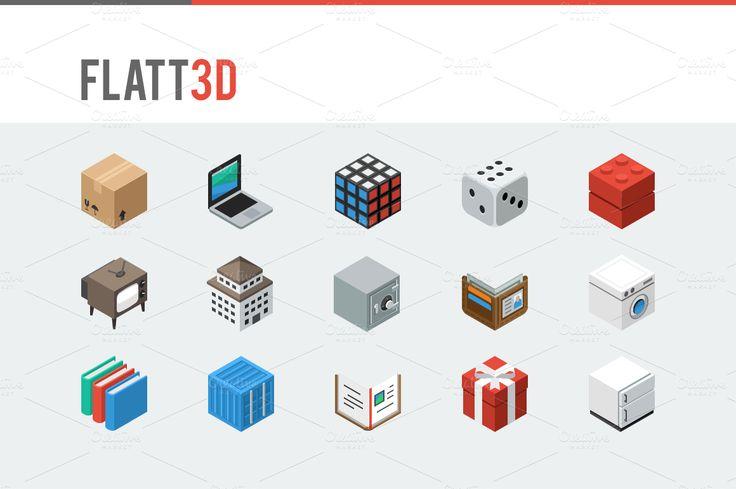 Flatt3d - Isometric Icon Pack by oelhoem on Creative Market