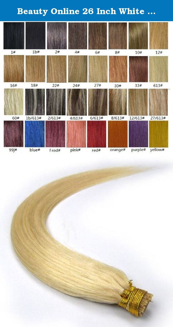 Beauty Online 26 Inch White Blonde (#60) 100s Straight Stick I Tip Fusion Human Hair Extensions - 100% Remy Human Hair Extensions. 100% remy human hair extensions and very competitive price. stick tip/I tip hair Can be washed, heat styled. High quality, tangle free, silky soft. 200-300strands are recommended for whole head. THERE ARE ANOTHER COLOURS AND SIZES CAN BE CHOSEN IN OUR SHOP.
