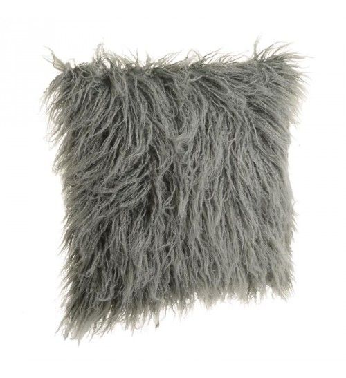 FAUX FUR CUSHION COVER IN GREY_GREEN COLOR 41X10X41