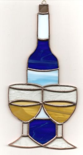 Stained Glass Wine Bottle Glasses WB17 | eBay