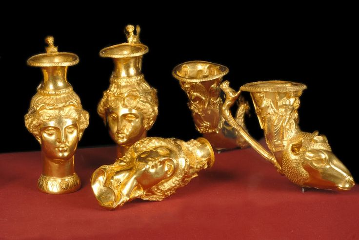 The Panagyurishte gold treasure (Bulgarian: Панагюрско златно съкровище) is a Thracian treasure excavated in 1949 near the town of Panagyurishte, Bulgaria. It consists of a phial, an amphora and seven rhytons of 23-karat gold. All of the objects are richly and skilfully decorated with scenes of Thracian myths, customs and life. It is dated from the 4th-3th centuries BC, and is thought to have been used as a royal ceremonial set by the Thracian king Seuthes III.
