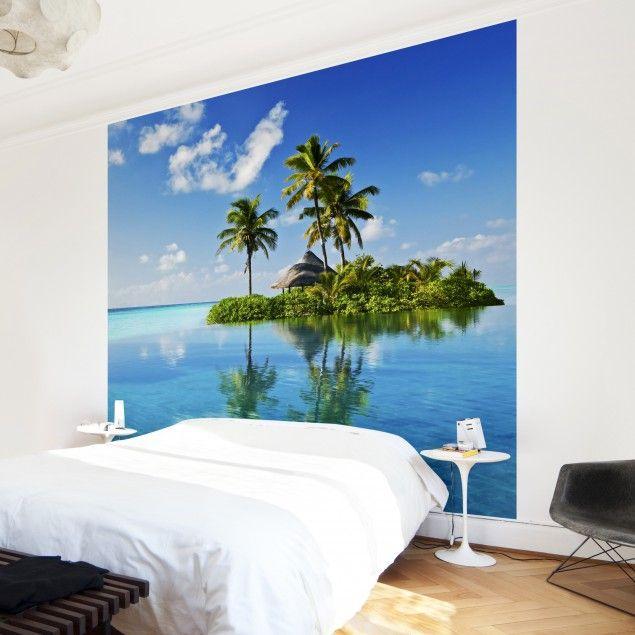 #Vliestapete - Tropisches Paradies - Fototapete Quadrat #Sommer #Sonne #Sonnenschein #Meer #Strand #Küste #Urlaub #Fernweh #Wandgestaltung #Tapete