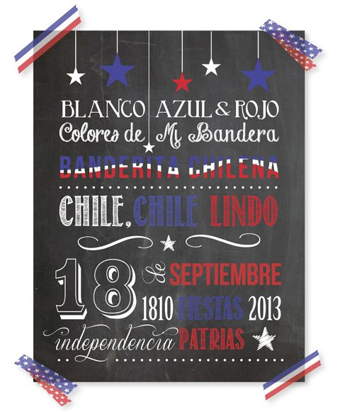 Poster-Fiestas patrias en Chile - imprimir gratis