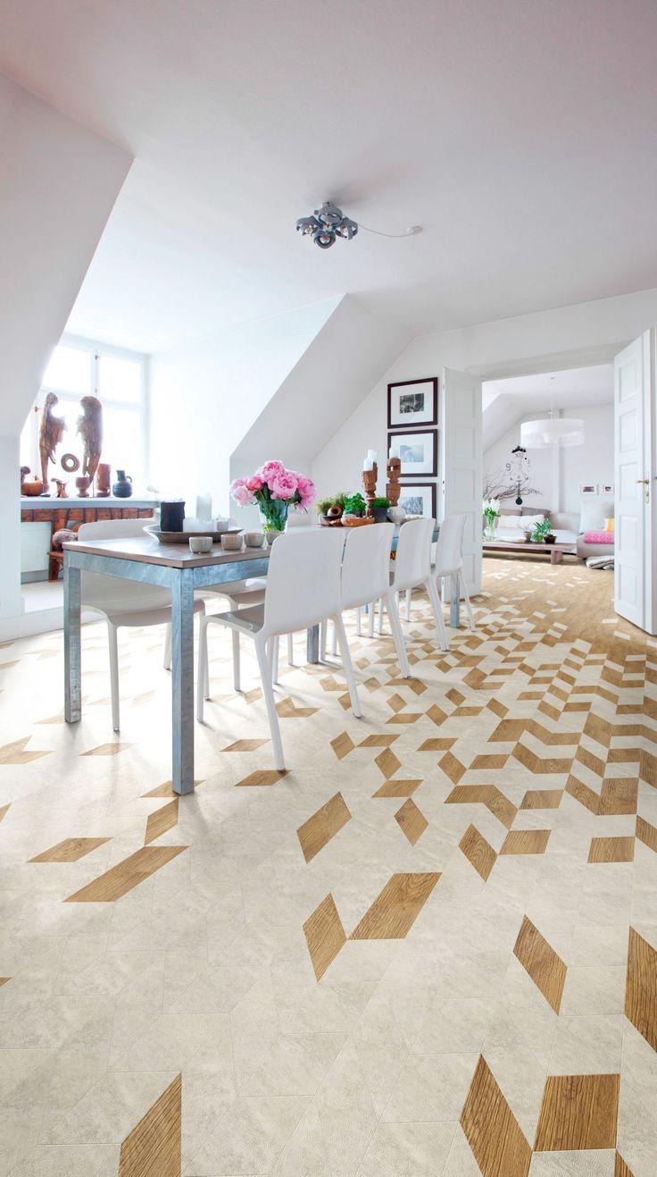 White Metalstone Camaro luxury vinyl tile flooring in miniature chevron design with Sienna Oak tiles, featured in dining room