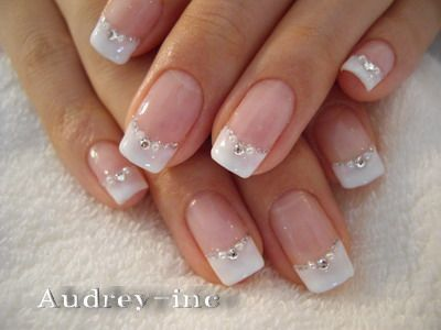 French manicure with silver glitter
