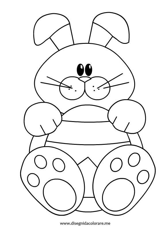 Rabbit coloring page easter pinterest coloring for Coniglio disegno per bambini