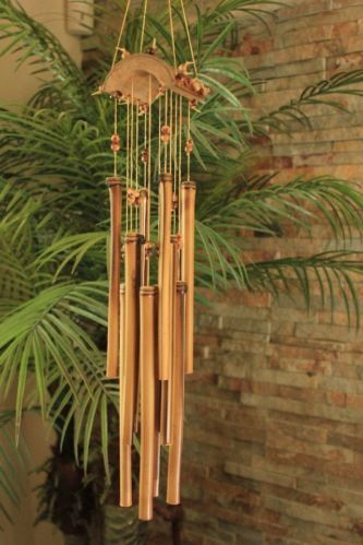 """BAMBOO WIND CHIME-LIGHT PLEASING TONES - 29"""" LONG -RELAXING - BACKYARD ACCENT"""