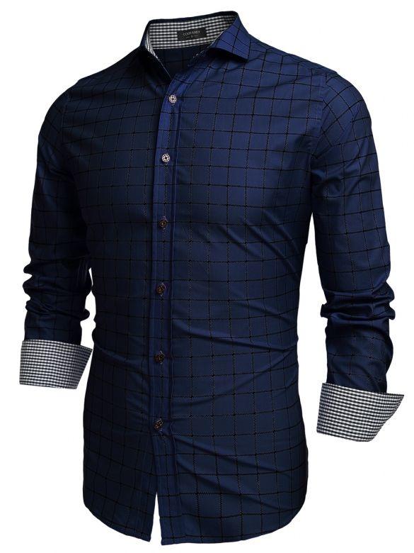 COOFANDY Men Fashion Turn Down Collar Long Sleeve Plaid Cotton Button Down Casual Shirts